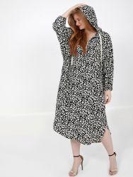 Animal print hoodie dress