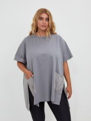 Cotton/viscose top with pockets