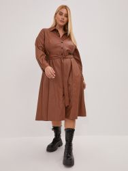Faux leather belted shirt-dress