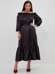 Off-shoulder satin dress