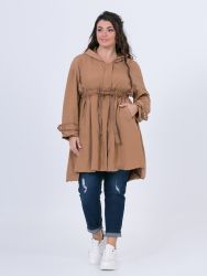 Hooded parka with drawstring waist