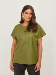 Boxy faux leather top