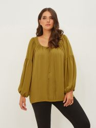 Crepe blouse with pleated front