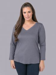 Cotton/modal V-neck top