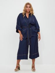 Satin culotte trousers with side stripes