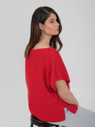 Short-sleeve boat-neck jumper in red
