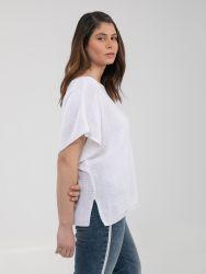 Short-sleeve boat-neck jumper in white