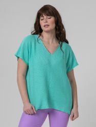 Short-sleeve V-neck jumper in aqua blue