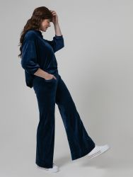 Velour bootcut trousers in blue