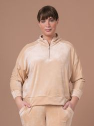 Velour sweat with zipped neck