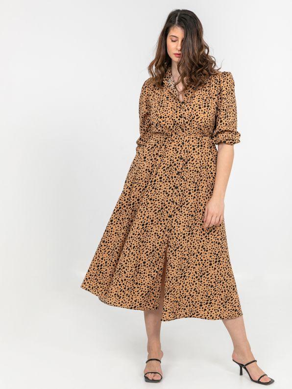 Animal print shirt-dress