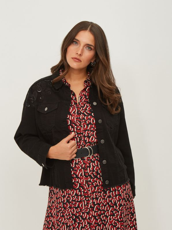 Black denim jacket with sequin paisley embroidery