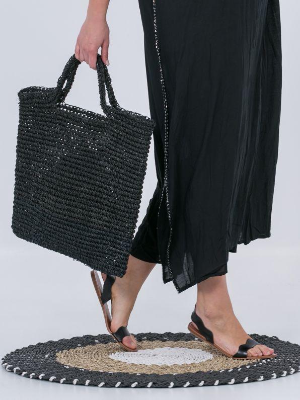 Black straw shopper bag