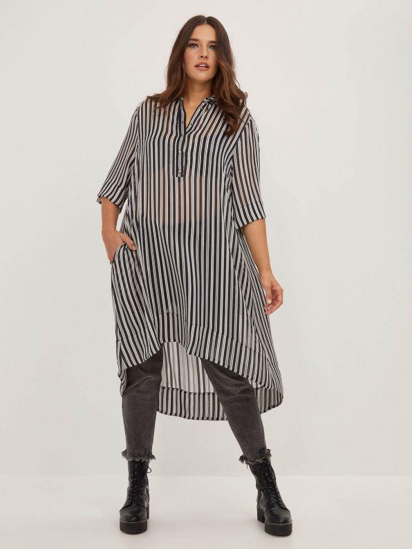 Chiffon shirt-dress in stripe print