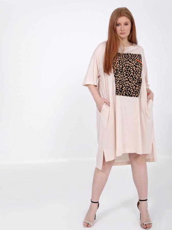 Φόρεμα βαμβακερό με animal print