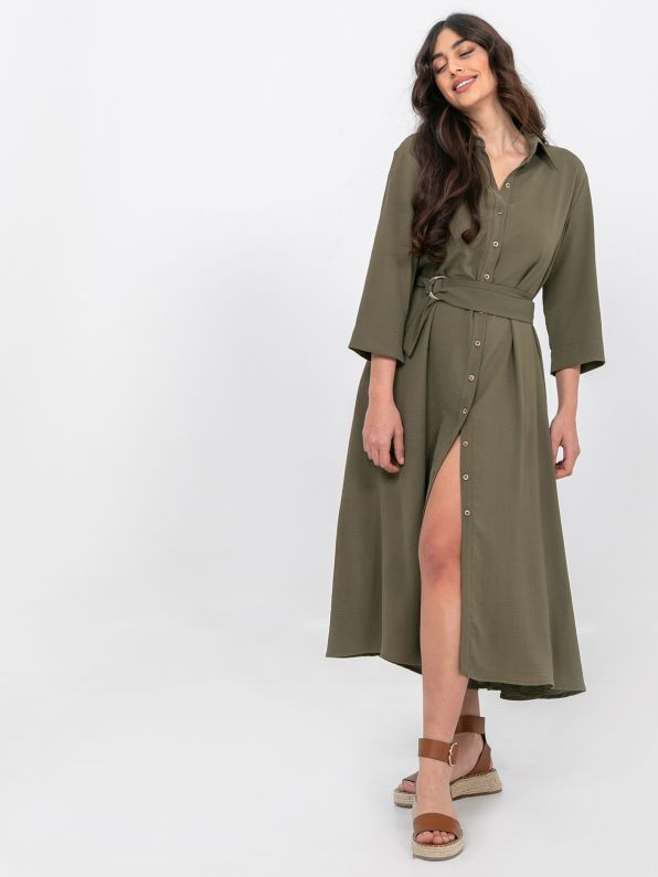 Crepe shirt-dress with belted waist