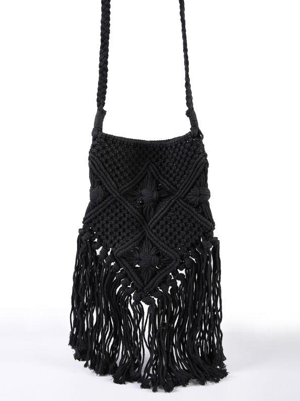 Τσάντα με πλεκτό σχέδιο & κρόσσια