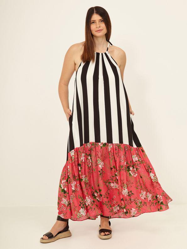Floral hem maxi striped dress