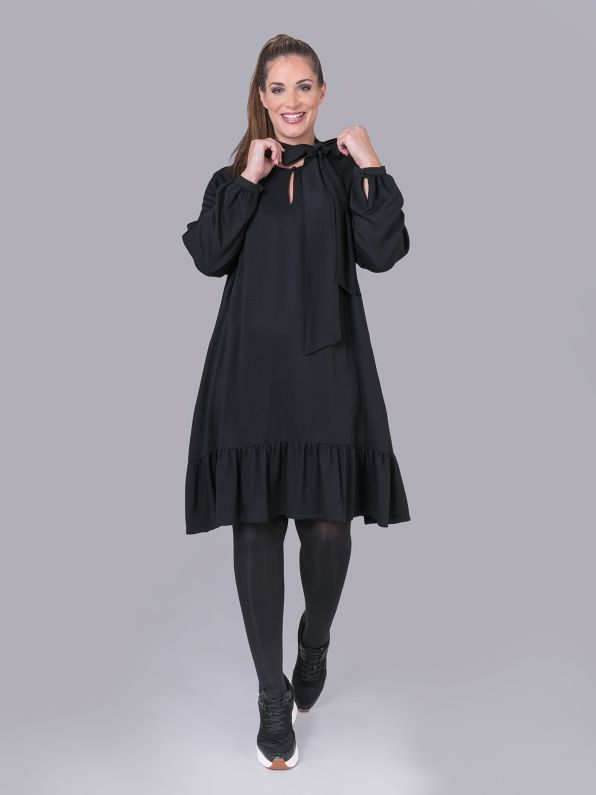 Viscose dress with ruffles & bow tie