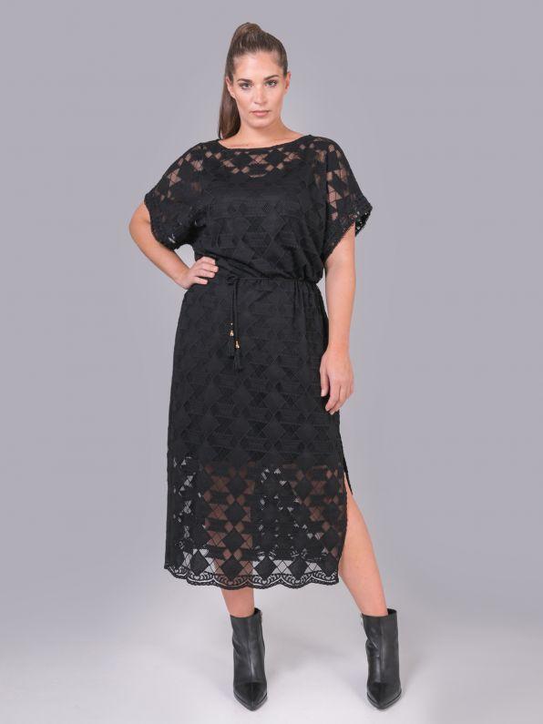 Φόρεμα με δαντελένια υφή & ζώνη