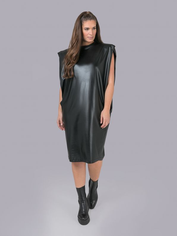 Faux leather dress with shoulder pads