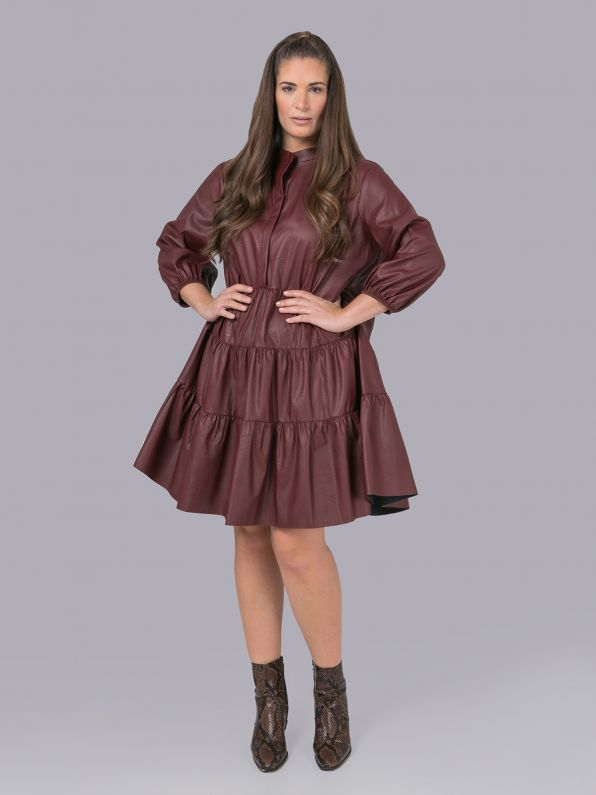 Leather look tiered shirt-dress