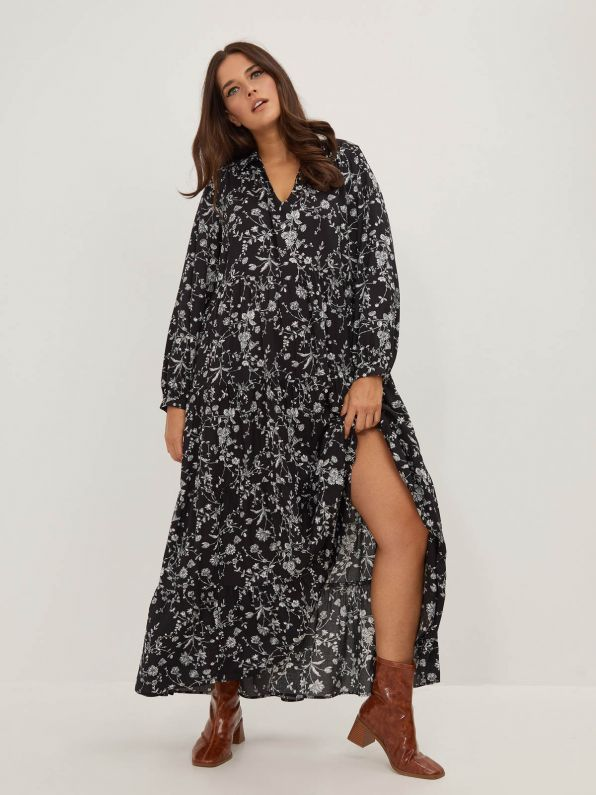 Maxi V-neck dress in floral print