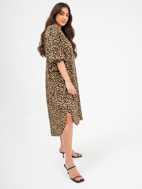 Animal print hoodie dress