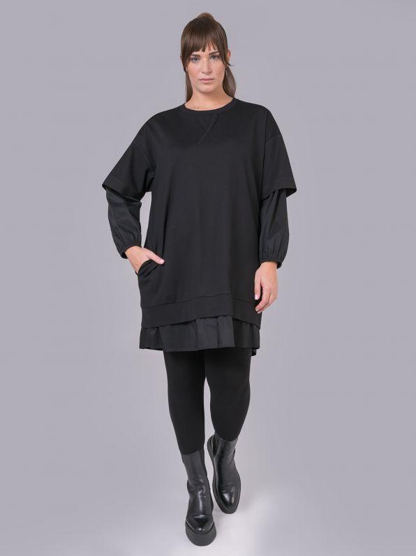 Φόρεμα φούτερ με συνδυασμό υφασμάτων | Comfort Collection