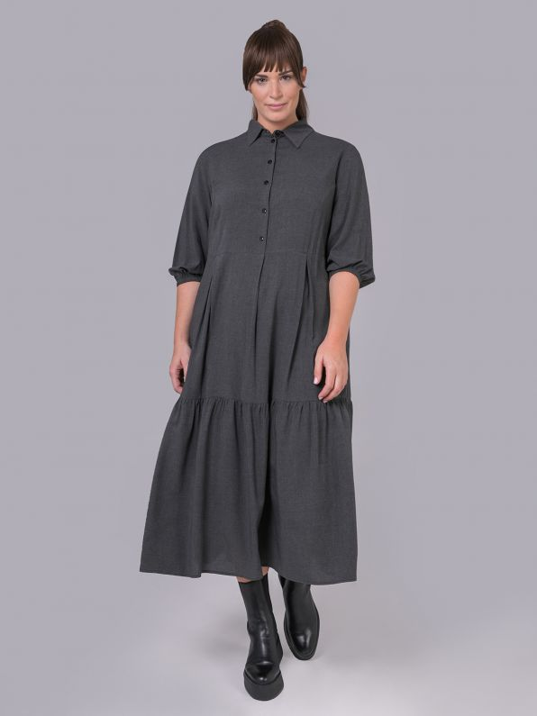 Maxi σεμιζιέ φόρεμα βισκόζη μελανζέ