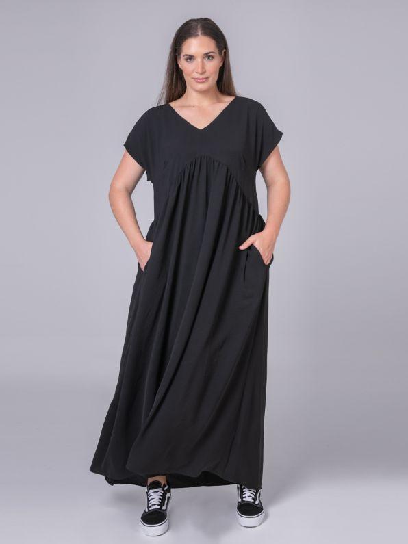 Maxi φόρεμα V με σούρες