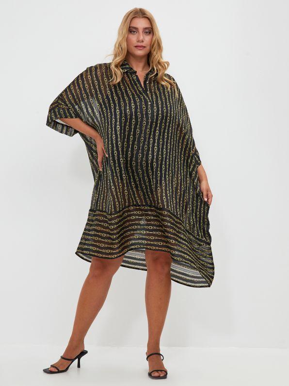 Chiffon shirt-dress in chain print