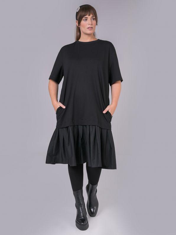 Viscose dress with peplum poplin hem