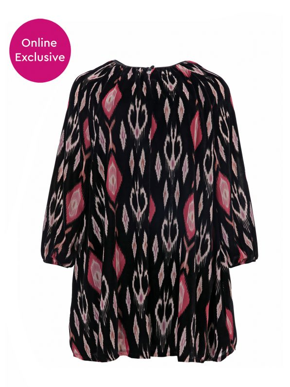 Βελούδινο φόρεμα με εμπριμέ μοτίβα