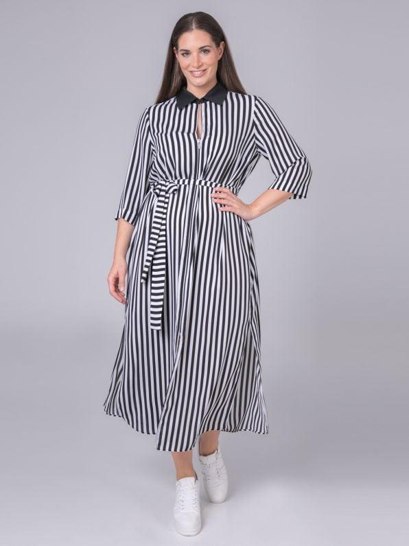 Σεμιζιέ ριγέ φόρεμα με ζώνη