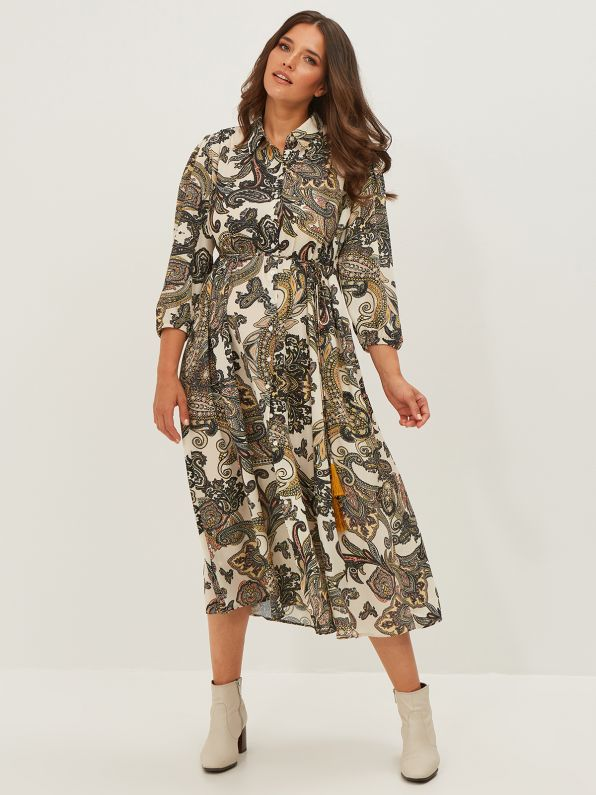 Belted shirt-dress in paisley print