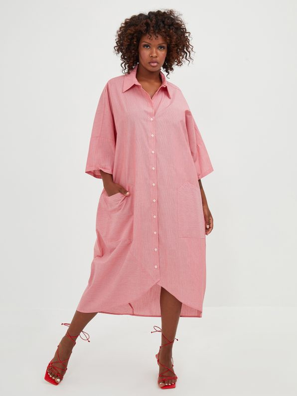 Pinestripe oversize shirt-dress