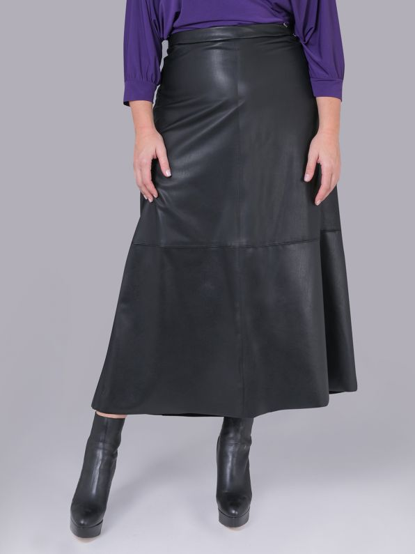Leather look maxi skirt
