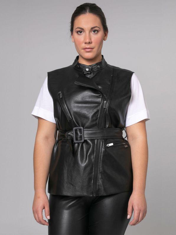 Faux leather biker vest