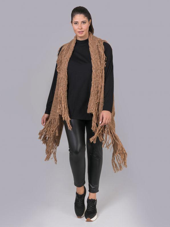 Fringed knitted vest