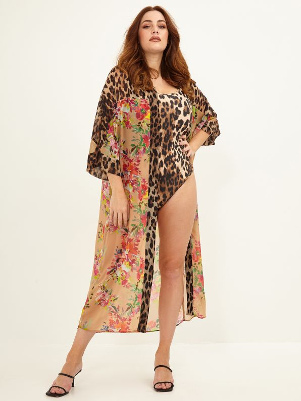 Maxi shirt-dress in floral & leopard print
