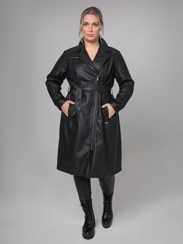 Leather-look trench coat