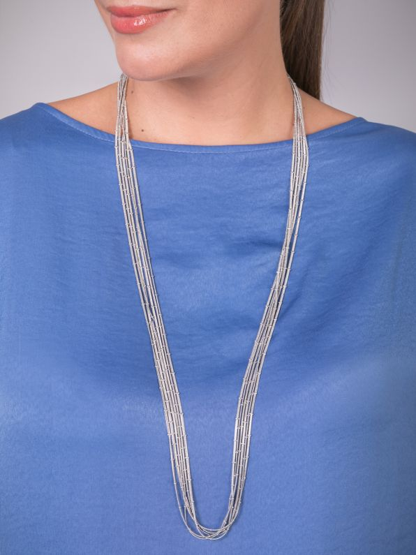 Multirow silver-tone necklace