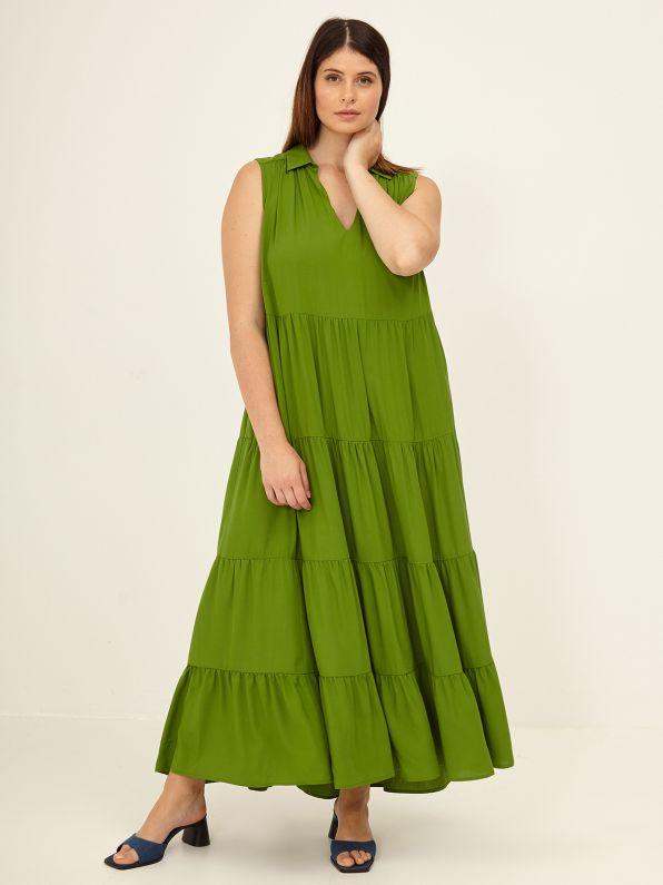 Maxi tiered viscose dress