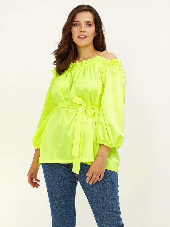 Off-shoulder satin blouse