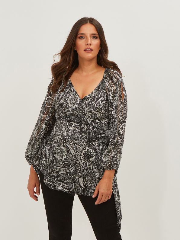 Cold-shoulder blouse in paisley print
