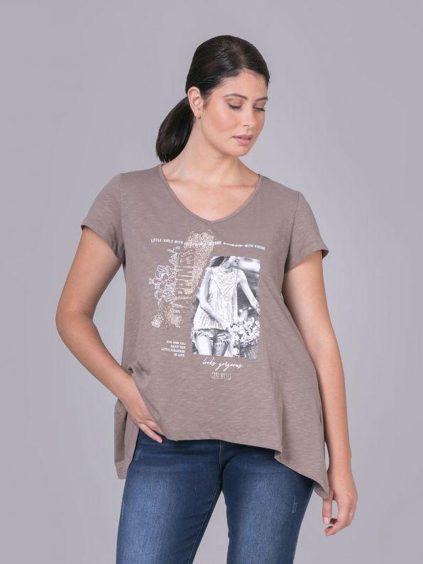 Βαμβακερή μπλούζα 'Happiness'