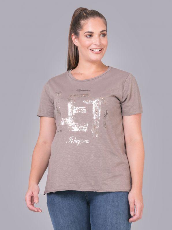 Μπλούζα με metallic στάμπα σε πούρο