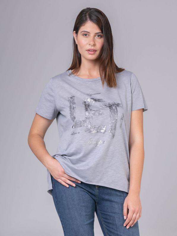 Μπλούζα με metallic στάμπα σε γκρι