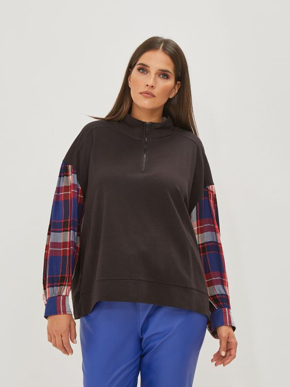 Check-sleeve sweat with zipped neck
